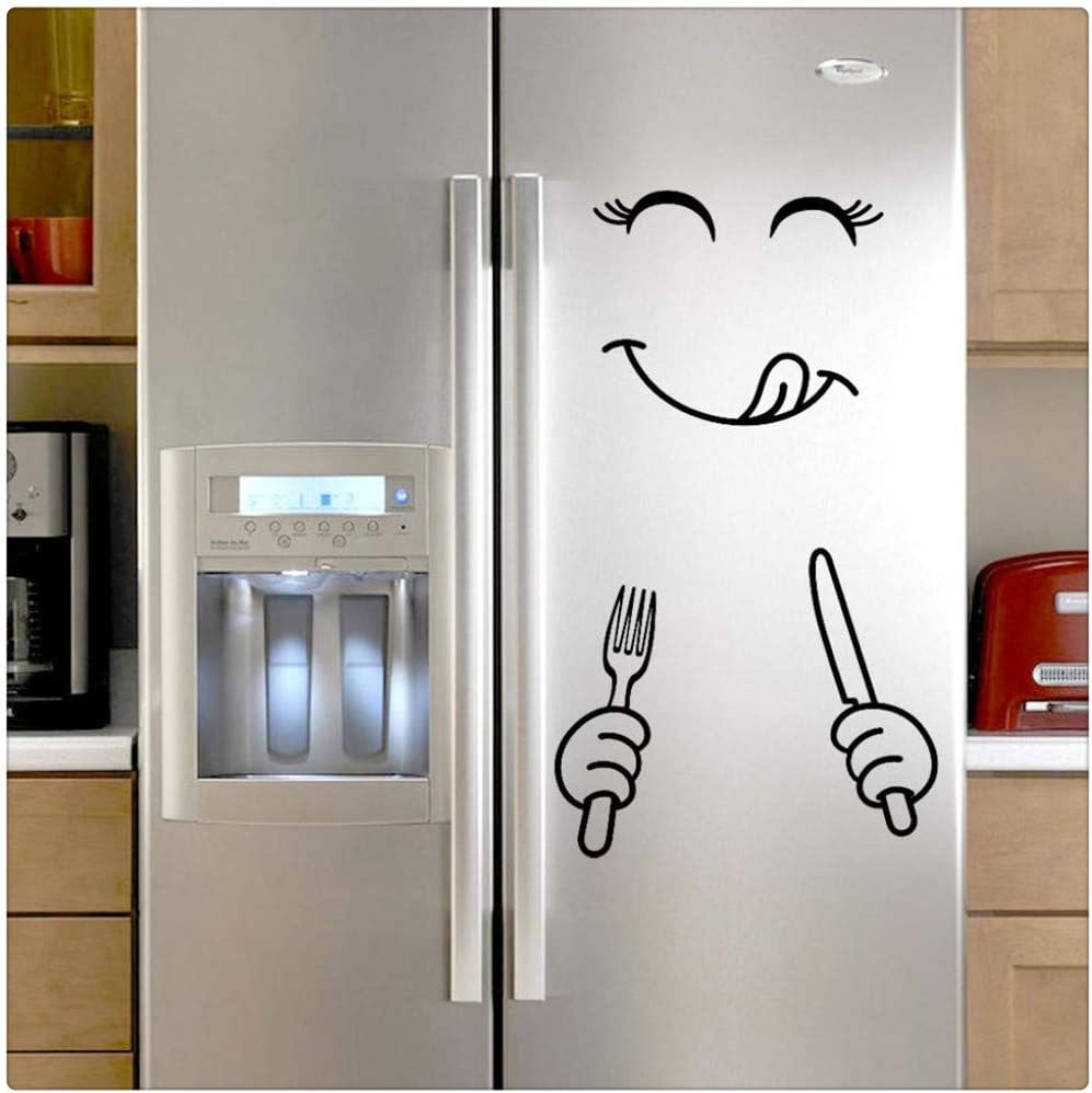 Amazon Com Alixyz Fridge Cute Decal Diy Home Decor Wall Decorations Happy Delicious Face Fridge Decal Dining Room Wall Stickers Kitchen Wall Decal B Kitchen Dining
