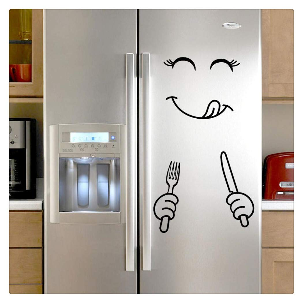 Alixyz Fridge Cute Decal DIY Home Decor Wall Decorations Happy Delicious Face Fridge Decal Dining Room Wall Stickers Kitchen Wall Decal (B)