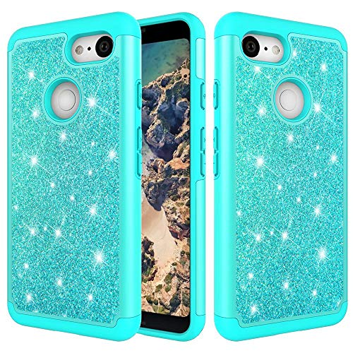 Price comparison product image Google Pixel 3 Case,  Futanwei Bling Glitter Sparkle Case Full-Body Protection [Silicone+Hard PC Back] 2 in 1 Hybrid Dual Layer Shockproof Non-Slip Cover for Google Pixel 3 [NOT fit Pixel 3XL] Mint