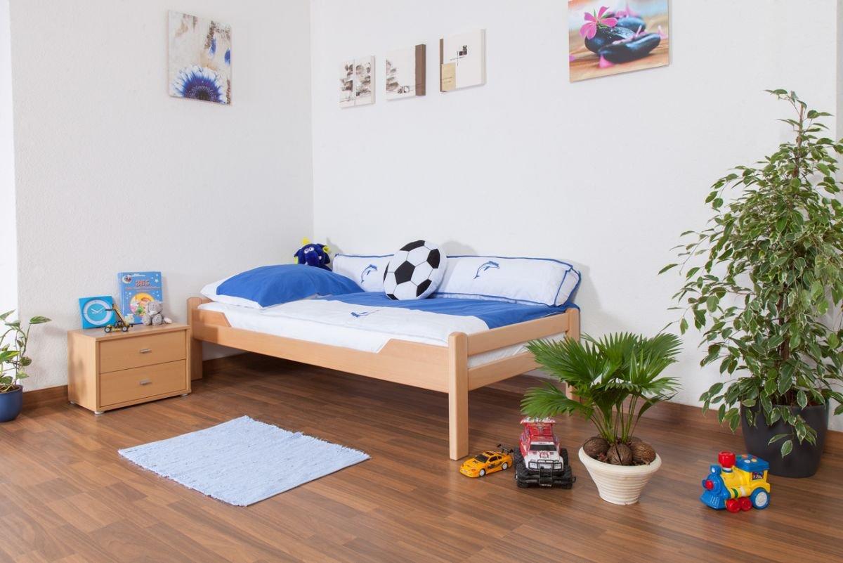 "Kinderbett Jugendbett""Easy Premium Line"" K1 1n, Buche Vollholz massiv Natur - Maße  90 x 190 cm"
