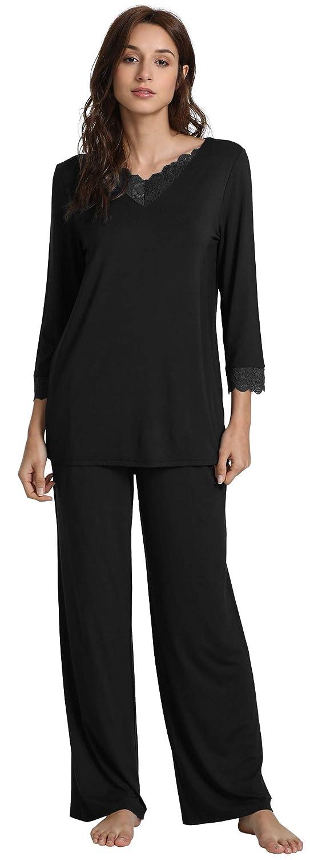 WiWi Long Sleeve Sleepwear Laced Pajama Set S-4XL