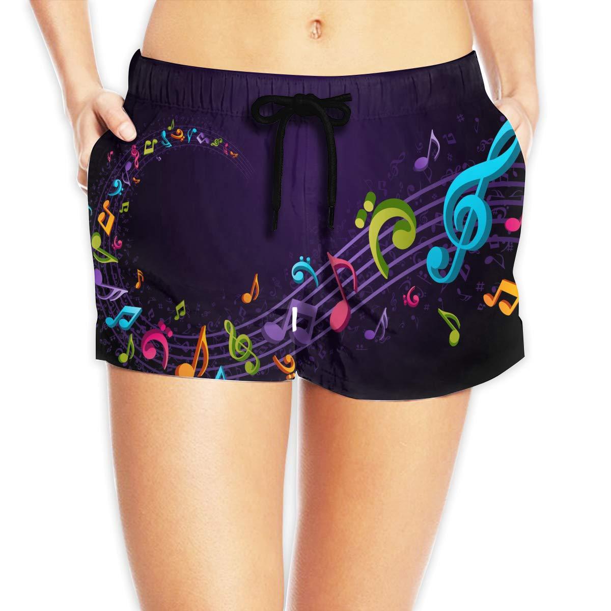 Eakllci Colorful Music Notes Womens Summer Beach Shorts Swim Boardshorts