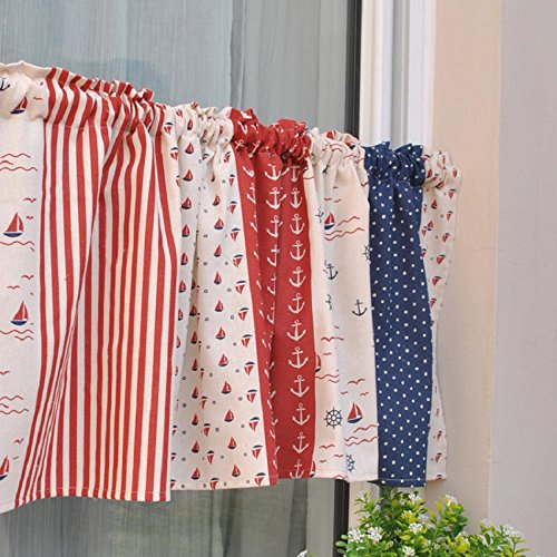 American Rural Patwork Cotton Printed Window Curtain Valance Tier Pair Curtain Tier For Kitchen Cafe Bars 55x15 Inch
