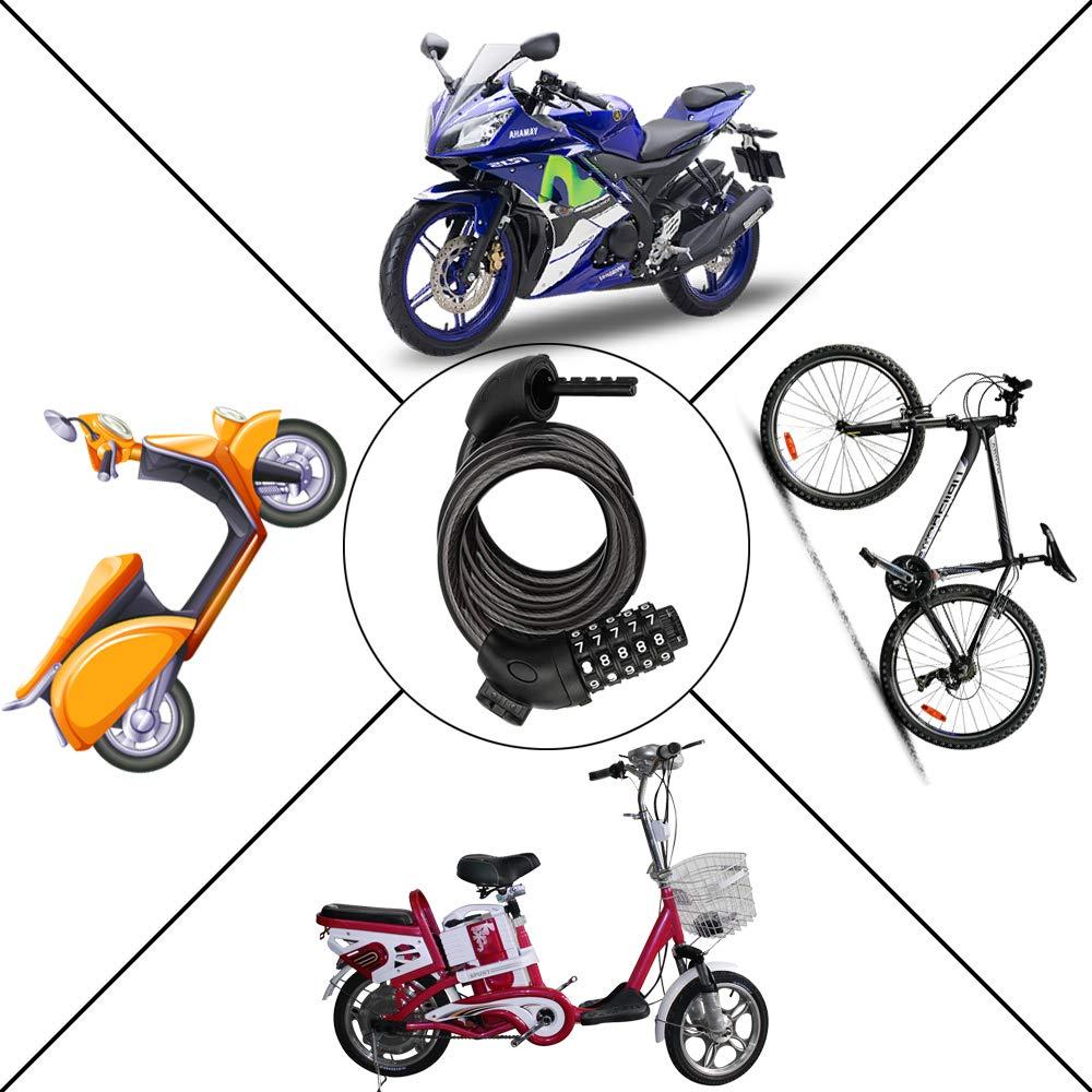 SENZEAL combinazione serratura bici 5 digi azzerabile numero di serrature a catena per cavo bici con attacco antifurto di sicurezza per porta moto bicicletta esterna nero