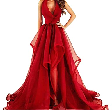 Fanmu V Neck A Line Organza Prom Dresses Evening Gowns Red US 2