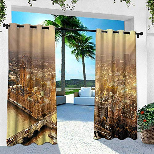 leinuoyi Cityscape, Outdoor Curtain Kit, Westminster Aerial View with Thames River and London Urban Cityscape Panoramic, for Patio W72 x L96 Inch Multicolor