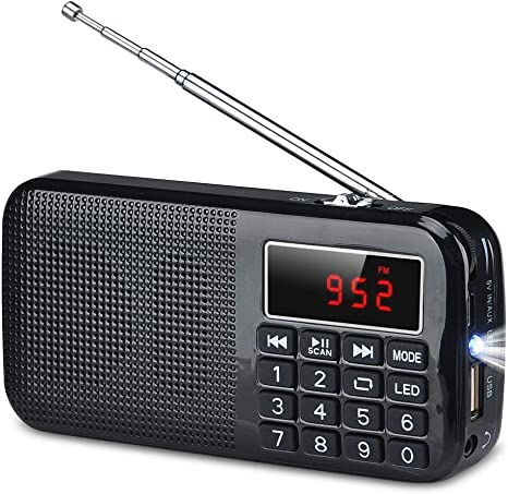 COVVY Mini Radio FM Digital portátil, Altavoz de Medios Reproductor de música MP3 Compatible con Unidad Flash USB / 2 Tarjetas TF, Linterna de Emergencia, Conector para Auriculares de 3.5 mm: Amazon.es: Electrónica