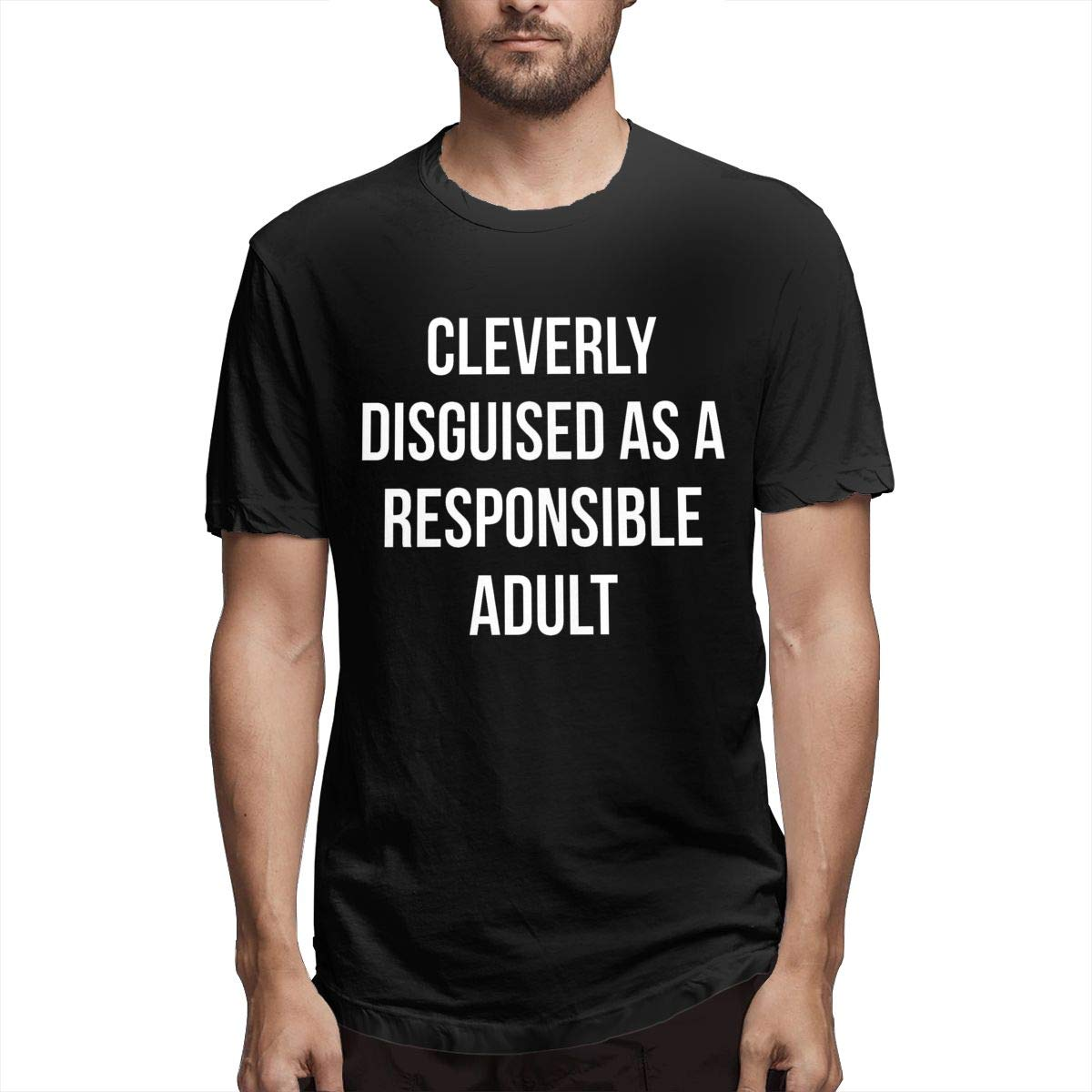 Cleverly Disguised As A Responsible Adult,Funny and Cool Mens Short-Sleeved T-Shirt Black