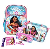 Disney Moana 16'' Large School Backpack + Lunch Bag+Stationery 10pc Set
