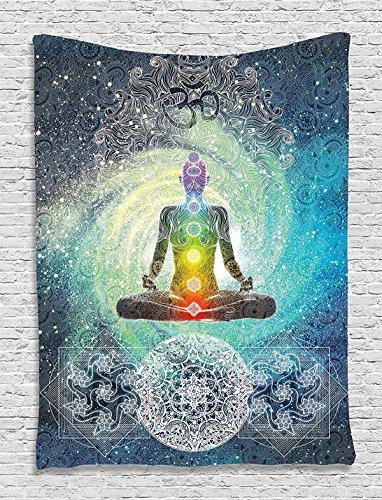 Shukqueen Tapestry, Indian Decor Mandala Yoga Zen Wall Meditation Batik Hippie Om Sign Blacklight Reactive Tapestry Hanging Dorm Bedroom Living Room Decorations Dorm Decor (59