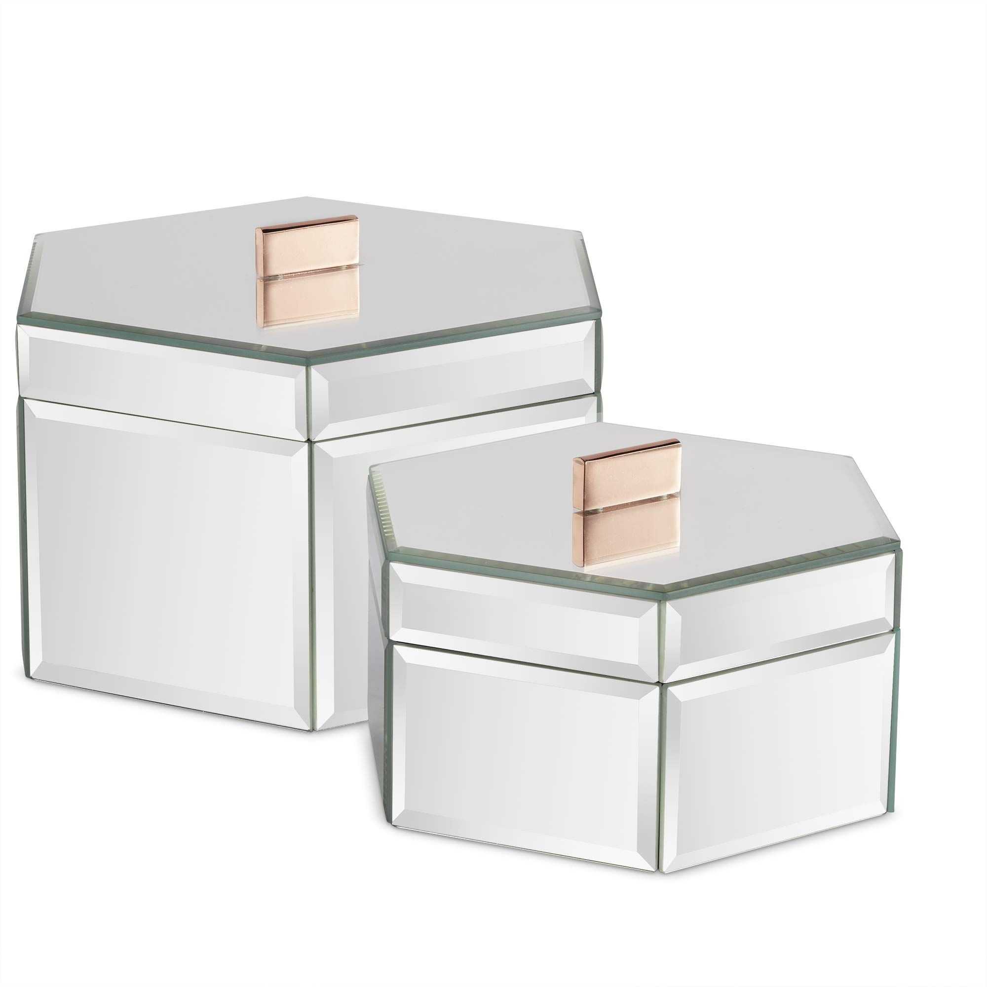 Beautify Large Octagon Mirrored Glass Jewelry Box Trinket Boxes Desk Organizers for Jewelry and Accessories Silver Set of 2
