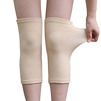 LJHA Rodilleras Rodilleras de carbón de mujer y delgadas de bambú Movimiento cálido Rodilleras delgadas sin