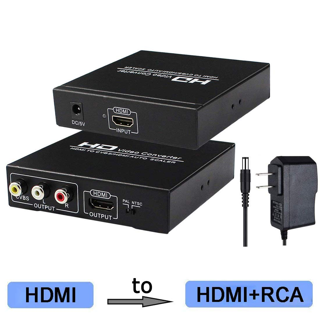 HDMI to RCA and HDMI Converter, HDMI to AV 3RCA and HDMI Adapter Support 1080P, PAL, NTSC for HD TV and Older TV (Black, Iron Shell) by Enbuer