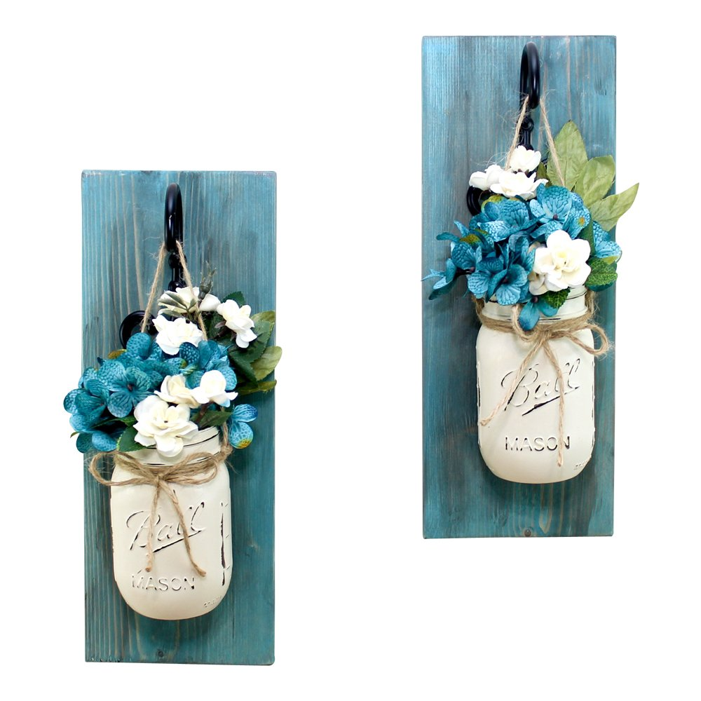 Set of 2 Blue Bayou Wall Sconces Mason Jar Floral Arrangement