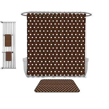 Amazon Com Qinyan Home 4 Piece Bath Rug Set Brown Nostalgic White