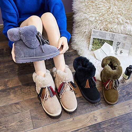 Zapatos Mujer De Moda Cabello Engrosamiento Real Nieve Cálido Del Borla Para Botas Gris Pelo Algodón Adultsys Rpzq44