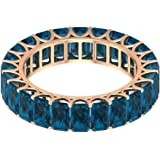 5x3mm Octagon Shape 9.60 Carat Blue Topaz London Eternity Ring, Women Gold Engraved Gemstone Bridal Ring, Birthstone…