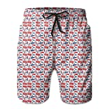 NTK0SKAI Men Classical Icons Retro Silhouette Outline Style With Flag Colors Culture Beatch Shorts Cute Beach Pants Large