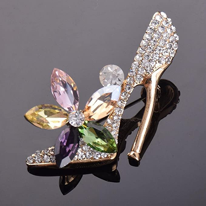 Alloy Diamond High Heels Brooch Jewelry Clothing Pin Christmas Clothing Accessories MAFYU Brooch