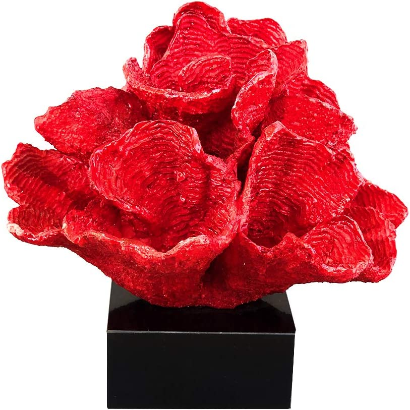 HENGYUTOYMASK Decorative Cauliflower Coral Statue Accent, 9 inch by 9.84 inch,Resin Sculpture Display for Home Decor or Aquarium Red