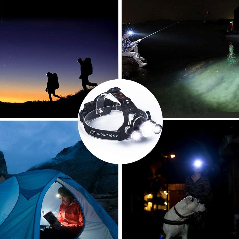 Wandern Lichter Laternen Scheinwerfer Hohe Helligkeit LED Wasserdicht Scheinwerfer Flash Licht verstellbarer Scheinwerfer Strahler f/ür Wandern Camping Nacht Angeln mit Ladeger/ät