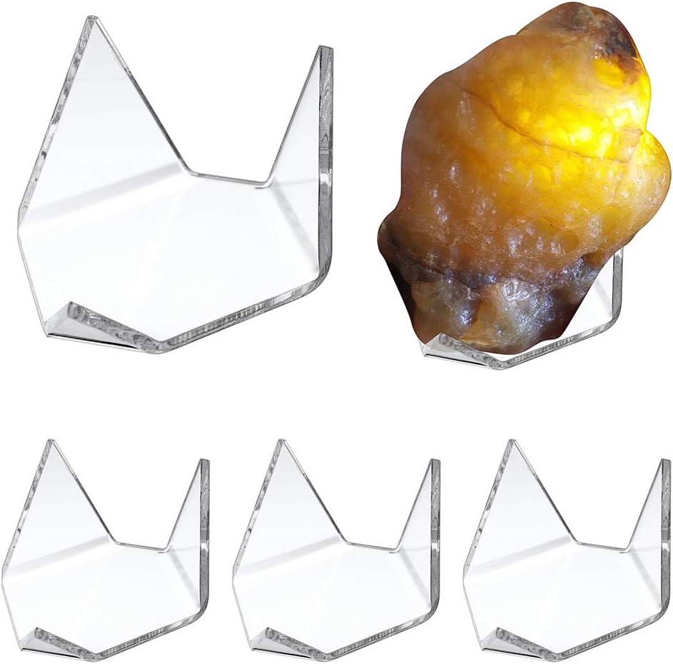 SUMNACON - Soporte de exhibición de acrílico transparente con forma de triángulo para roca mineral y ágata fósil, tamaño grande