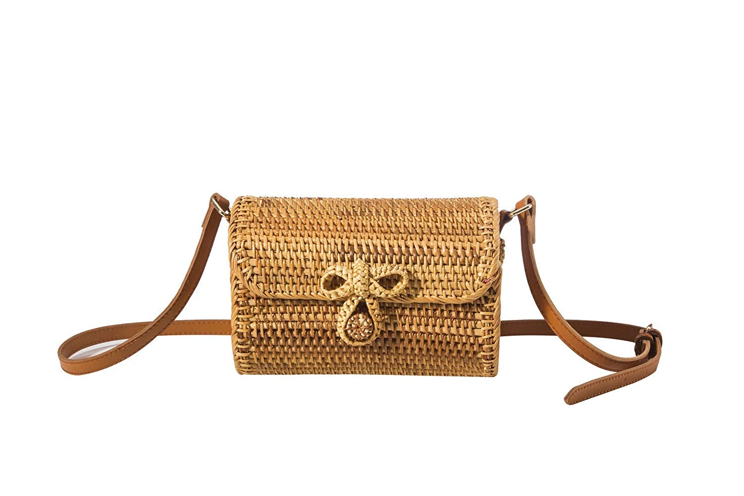 Oval BOKPLD Bali Ata Rattan Woven Crossbody Bag   Backpack   Shoulder bag with Bow Clasp for Women
