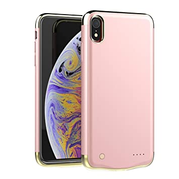 Happon Funda Bateria iPhone XR, 6000mAh Batería Cargador Externa Ultra Carcasa Batería Recargable Power Bank Portatil para iPhone XR - Oro Rosa