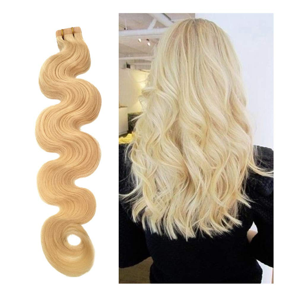 Tape in Hair Extensions Body Wave Remy Human Hair Seamless Glue in Extensions 20pcs 60g #60 Platinum Blonde Long Wavy 22 Inches Skin Weft by Biena