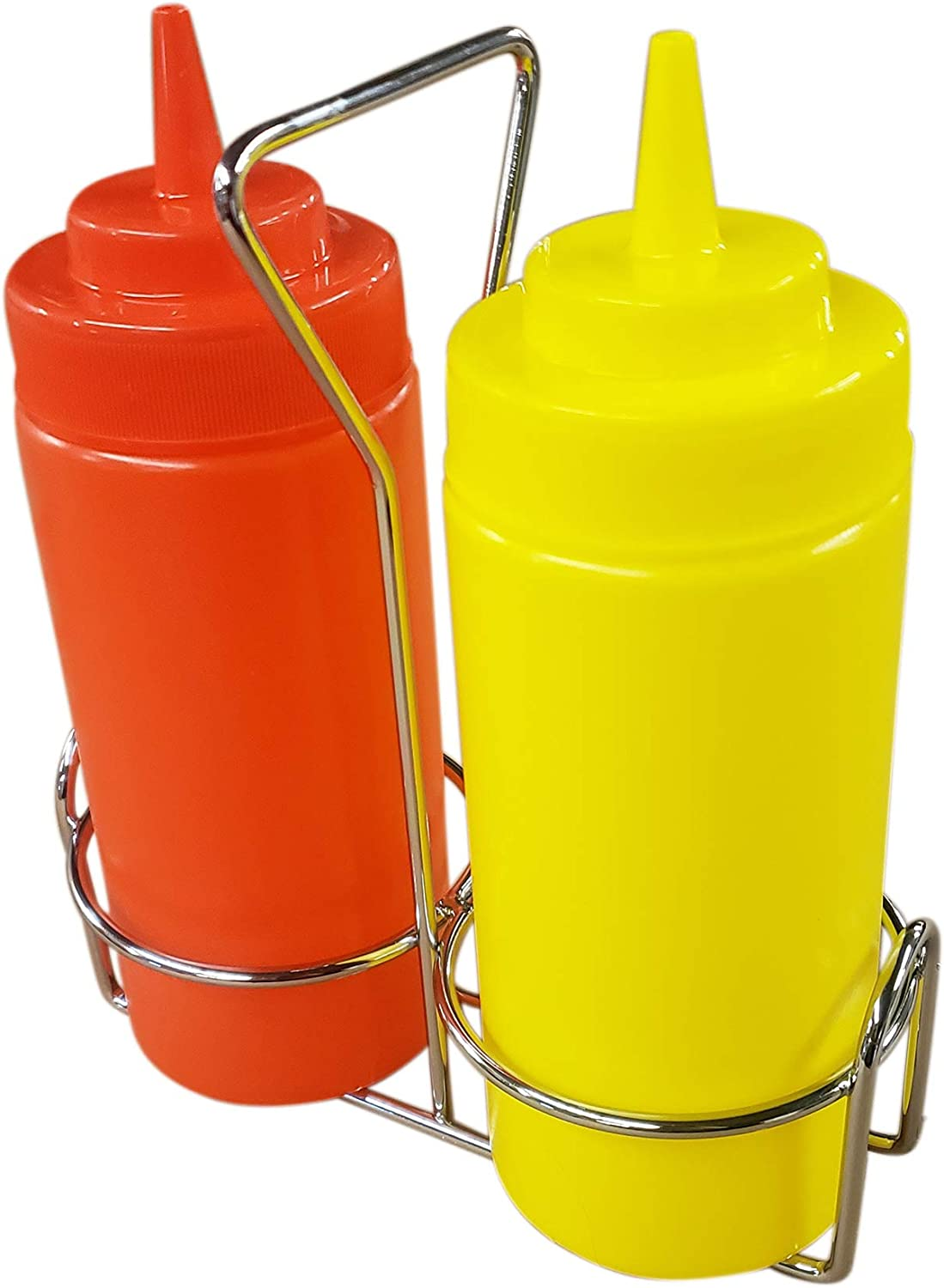 Ketchup and Mustard Squeeze Bottle Set with Caddy, 16oz