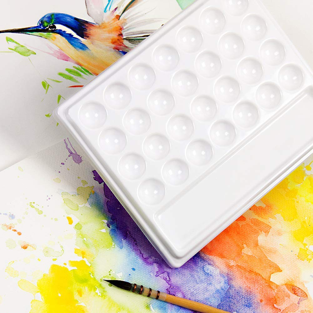 Paint Tray Palettes Wavy Square Easy to Clean Watercolor Imitation Ceramic Creative Color Box by Yevison