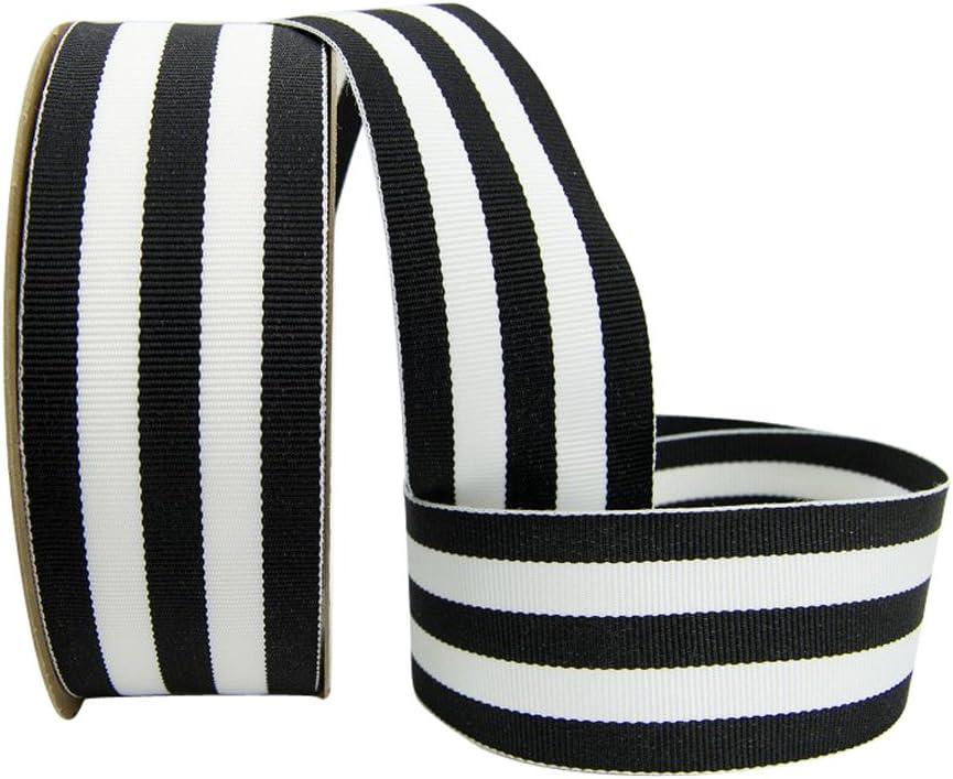 "5 yars 1.5/"" Lime Black White Stripes Woven Grosgrain Ribbon"