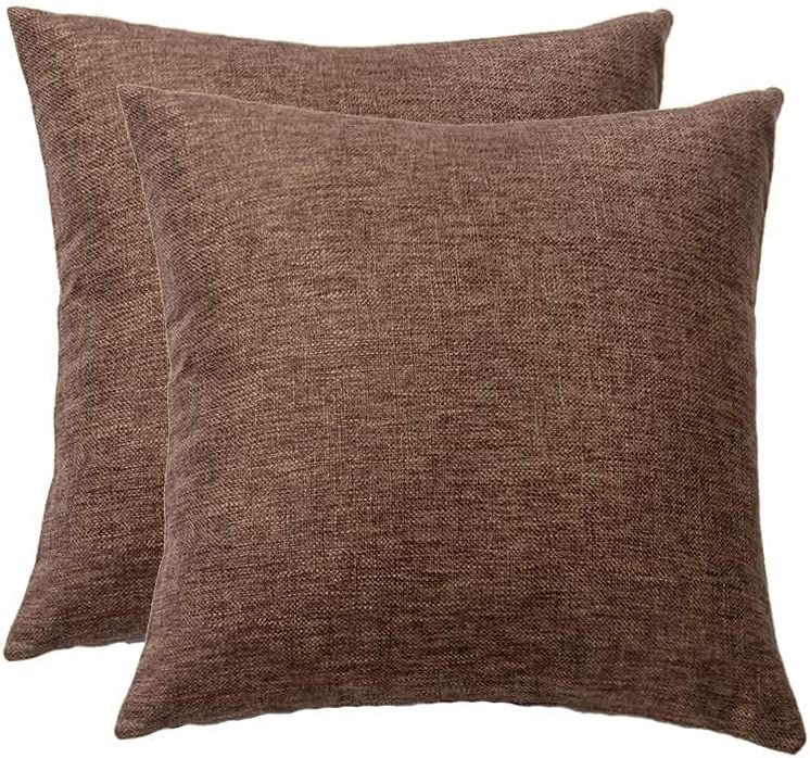 SOFJAGETQ Decorative Accent Throw Pillow Covers Linen Textured Neutral Cushion Covers Vintage Decor Pillowcases for Couch Sofa Bedroom Set of 2, 18 x 18 Inch (45 x 45 cmcm), Coffee Brown