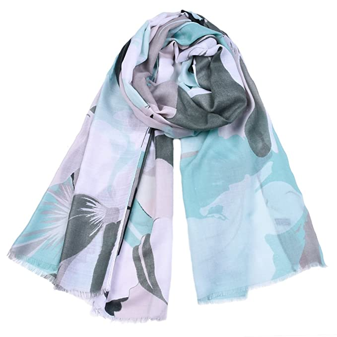 65d2a08855194 Women's Fashion long shawl Classic Floral print soft warm Lightweight large  Scarves (L, green