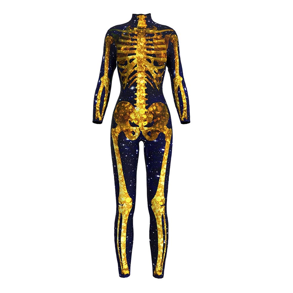 sissycos Women's Halloween Costume Skeleton Printed Bodycon Skull Catsuit Jumpsuit