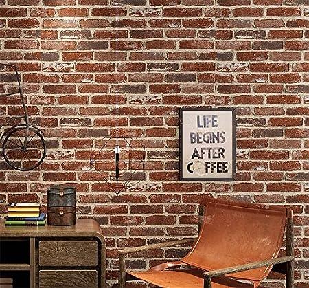 3D St/ér/éo R/étro Caf/é Bar Restaurant Imitation Brique Tapisserie /Épaissie Culture Brick Tendance Tapisserie,E,Mural,Stickers Muraux,0.53M/×10M