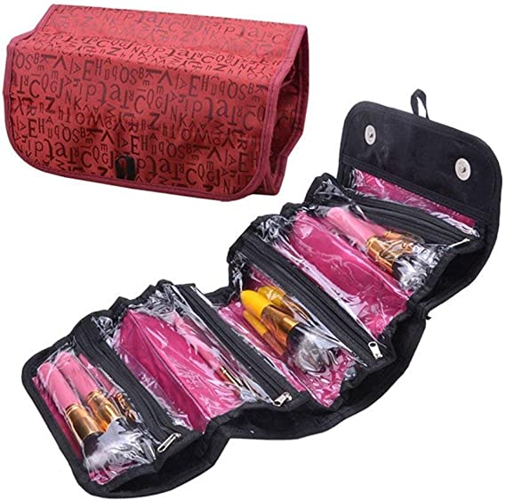 fenguh Rojo 4 Compartimiento Roll-Up Maquillaje Organizador Cosmético del Organizador Viaje Neceser Joyería Belleza Bolsa--Rojo: Amazon.es: Hogar