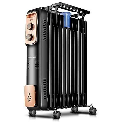 Radiador Relleno de Aceite - Calentador eléctrico portátil - 3 configuraciones de Potencia, Temperatura Ajustable