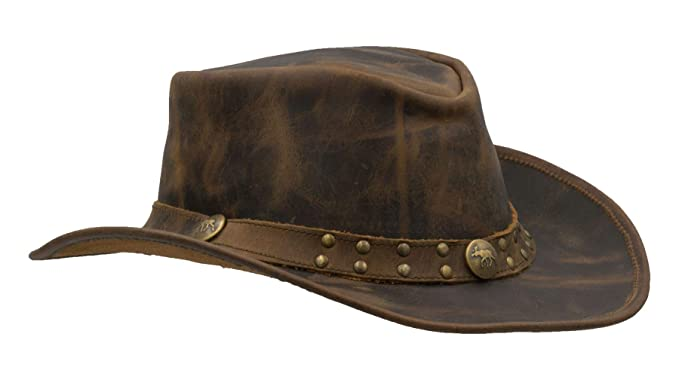 0fe46db2 Walker and Hawkes - Leather Cowhide Outback Brisbane Two Tone Hat - Autumn  Brown - S
