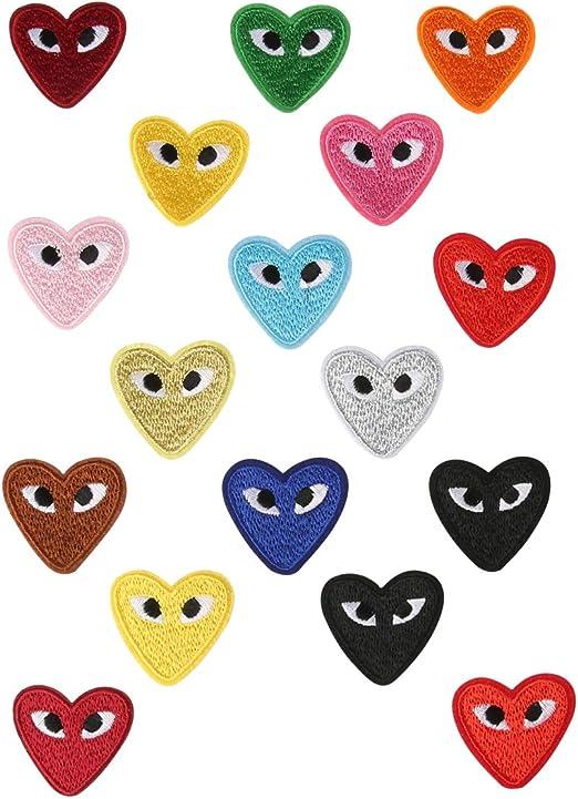 Parches de ojos de corazón con parches bordados para tela T- camisa vaquera zapatos DIY manualidades 17 piezas: Amazon.es: Hogar
