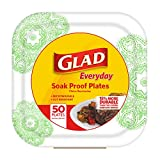 Glad Square Paper Plates, Green Victorian, 50 Count