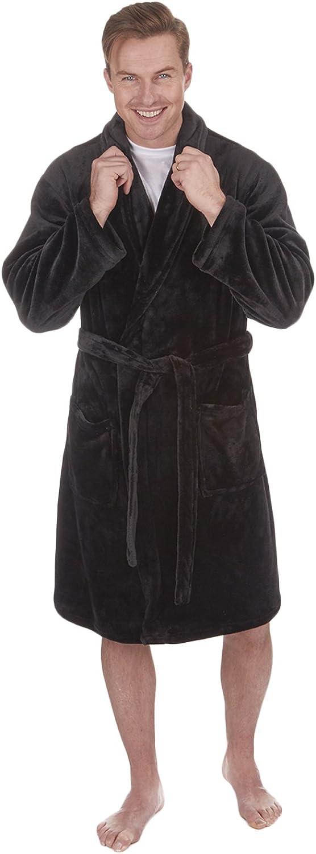 Luxury Mens Gents Full Length Velour Fleece Robe Dressing Gown