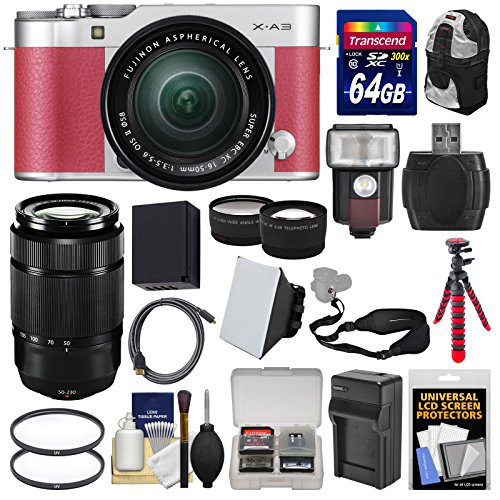 Fujifilm-X-A3-Wi-Fi-Digital-Camera-16-50mm-II-XC-Lens-Pink-50-230mm-Lens-64GB-Card-Battery-Backpack-Flash-Tripod-TeleWide-Lens-Kit