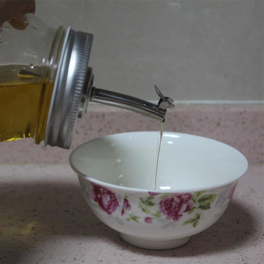 CHBKT 2 Pack Mason Jar Oil Infusions Lid, Stainless Steel, Liquor/Oil Pour Spout Dispenser, Regular Mouth by CHBKT (Image #4)