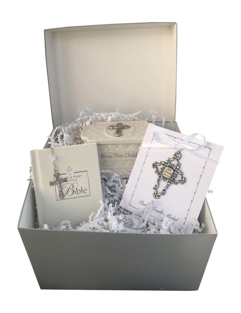 Christening Gift Set White Bible, Rosary Beads, and White Metal Cross KIG Online Shopping