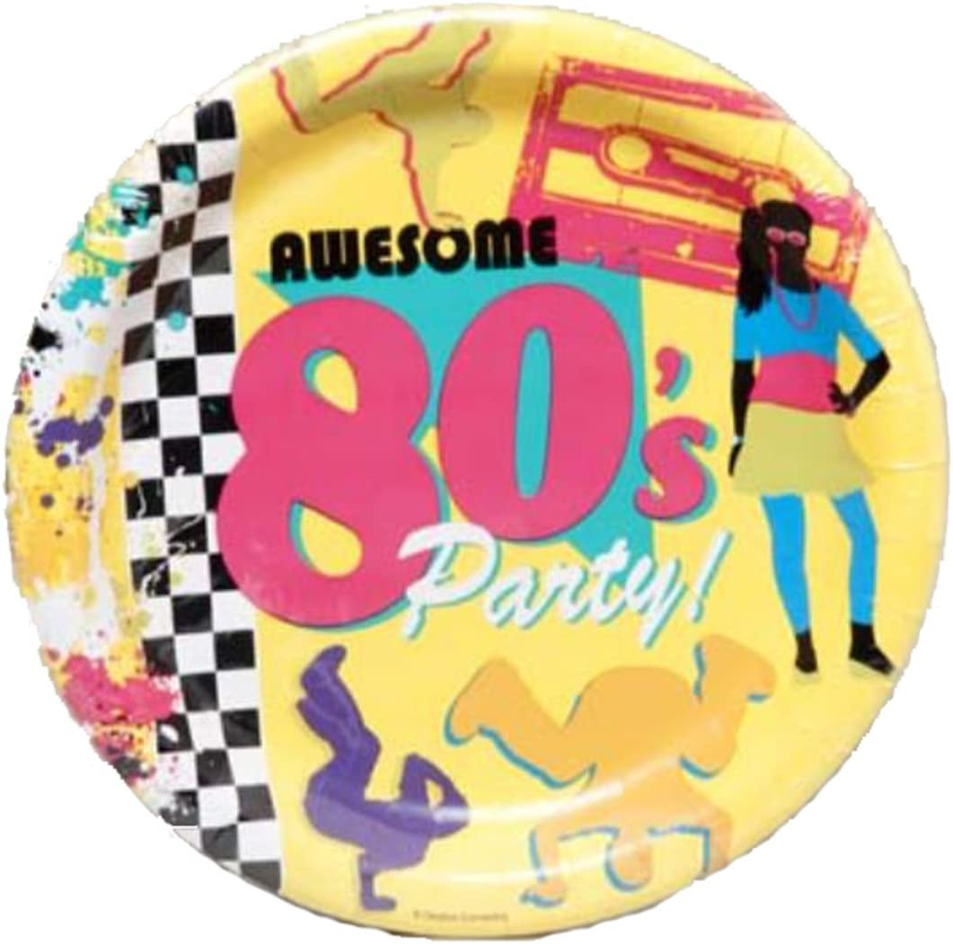 8 ct. Creative Converting WM424473 Awesome 80s Party Dinner Plates