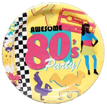 Creative Converting WM424473 Awesome 80s Party Dinner Plates, 8 ct
