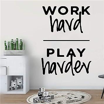 Citazione Wall Sticker Adesivo Da Muro Adesivi Murali Frasi Wall Art Sticker Work Hard Play Harder For Office Teamwork Inspirational Home Decor Amazon It Fai Da Te