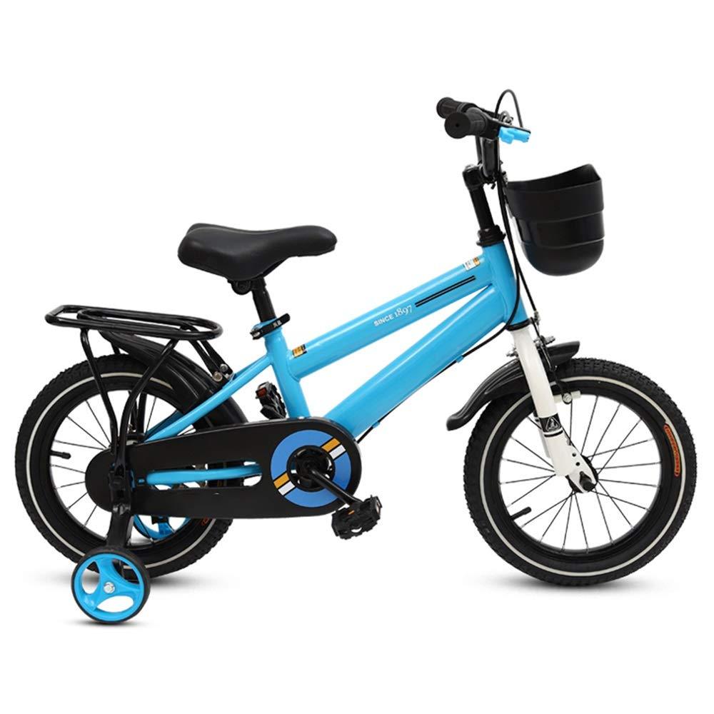 Biciclette per bambini Duo Bici per Bambini, Bici da Ragazzo con Ruote da Allenamento Sedile Regolabile per Manubrio 12-14-16-18- Pollici (colore   Blu, Dimensioni   12 inch)