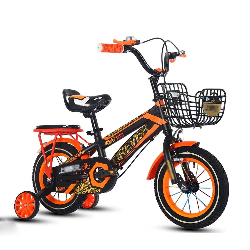 子供の自転車少年少女3-10歳の小学校の子供の自転車ベビーキャリッジペダル自転車14 16 18オレンジレッドブルー B07DVWL57P 18 inch|オレンジ オレンジ 18 inch